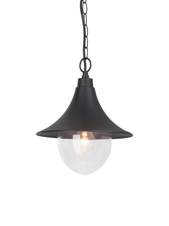 Lámpara de techo de exterior Berna, Negro, transparente, Ø 26 x Al 91 cm