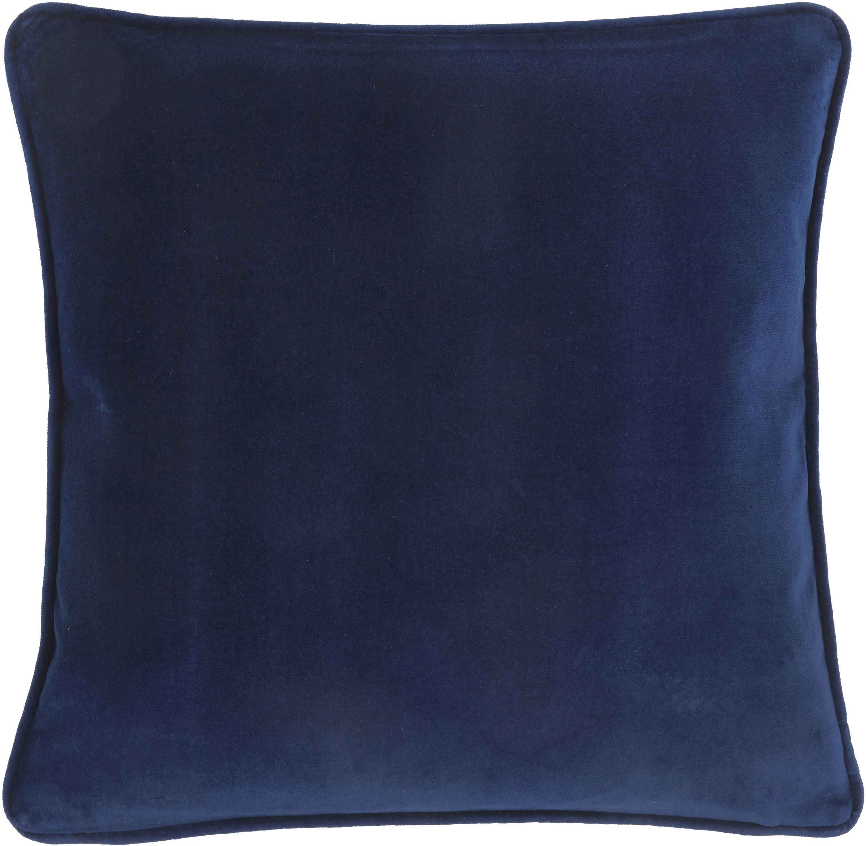 Federa arredo in velluto in blu navy Dana, 100% velluto di cotone, Blu marino, Larg. 50 x Lung. 50 cm