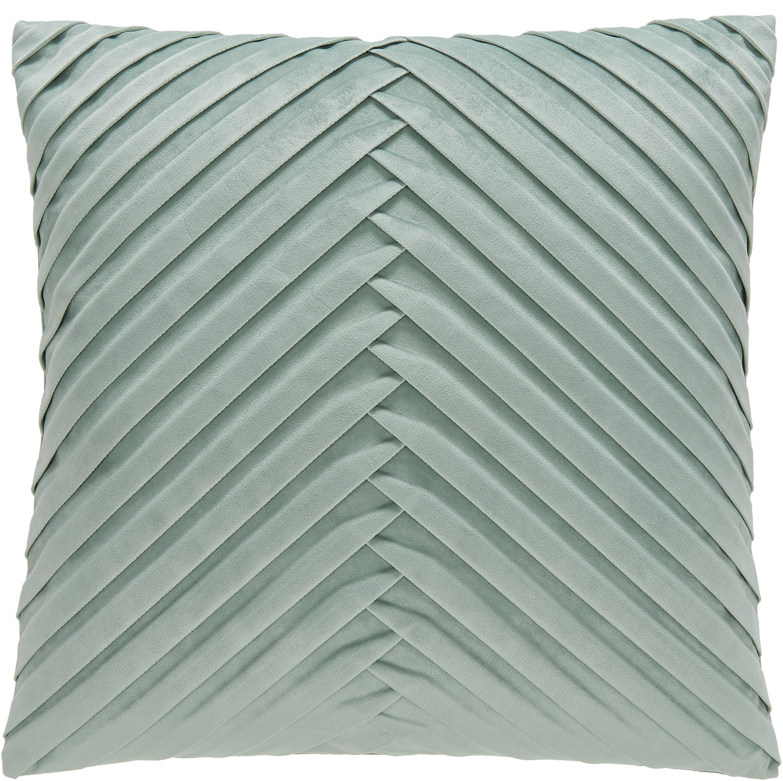 Fluwelen kussenhoes Lucie met gestructureerde oppervlak, 100% fluweel (polyester), Saliegroen, 45 x 45 cm
