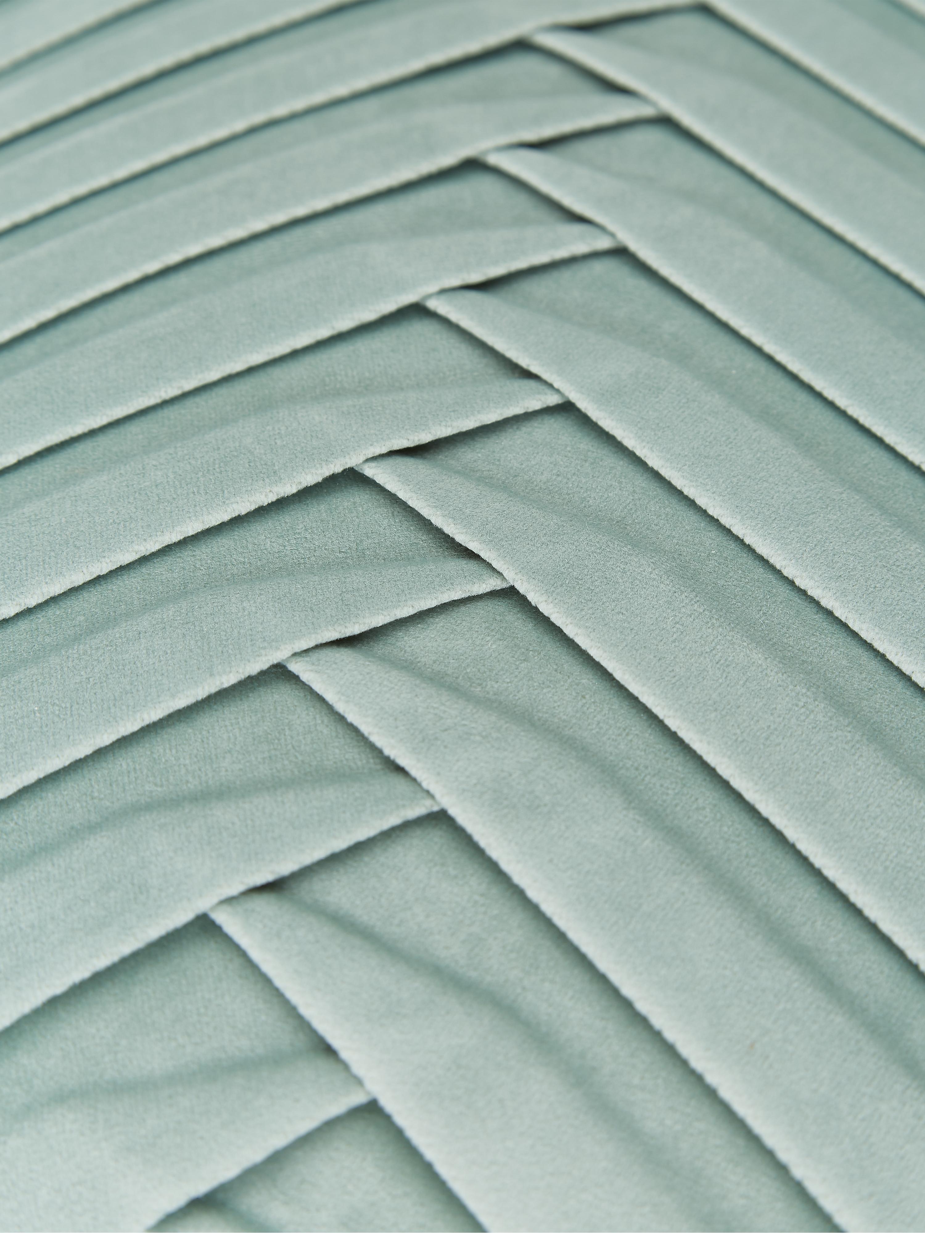 Samt-Kissenhülle Lucie mit Struktur-Oberfläche, 100% Samt (Polyester), Salbeigrün, 45 x 45 cm