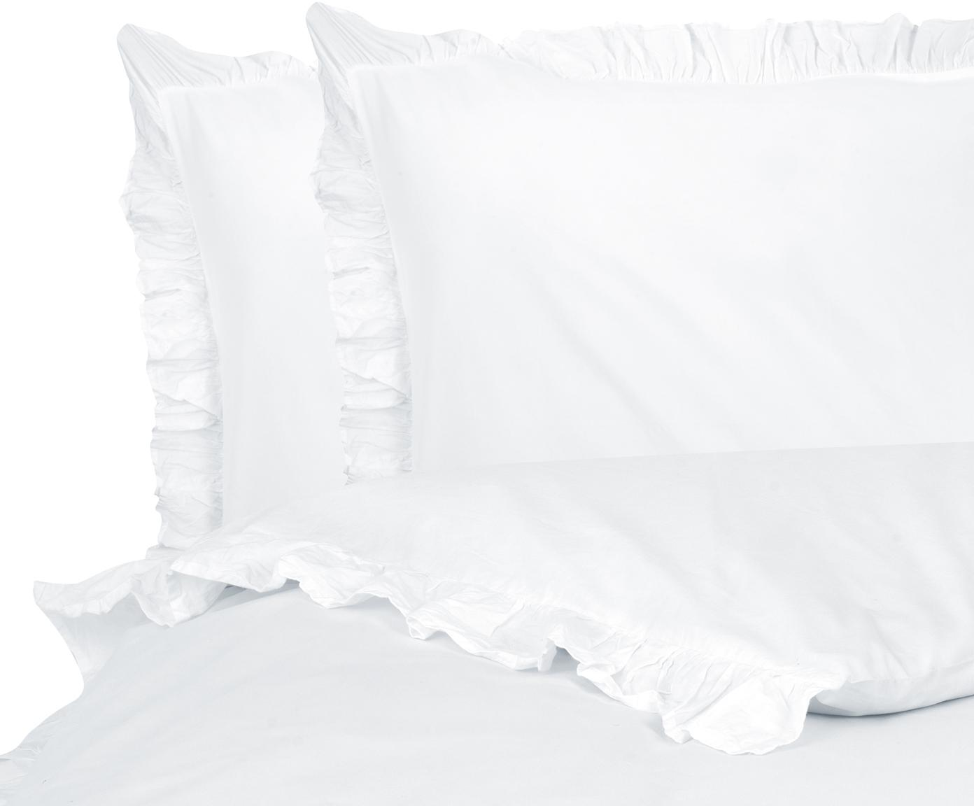 Gewaschene Baumwoll-Bettwäsche Florence mit Rüschen, Webart: Perkal Fadendichte 180 TC, Weiß, 240 x 220 cm + 2 Kissen 80 x 80 cm