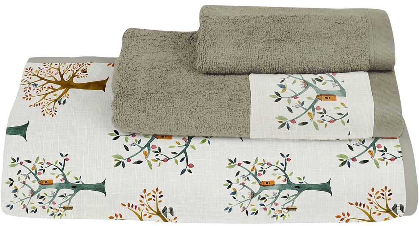 Set de toallas Trees, 3pzas., Parte delantera: algodón, Parte trasera: poliéster, Multicolor, Set de diferentes tamaños