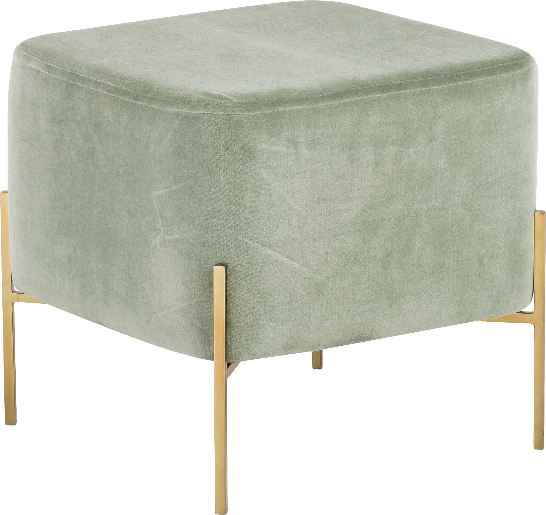 Puf z aksamitu Harper, Tapicerka: aksamit bawełniany, Szałwiowy zielony, odcienie złotego, S 46 x W 44 cm