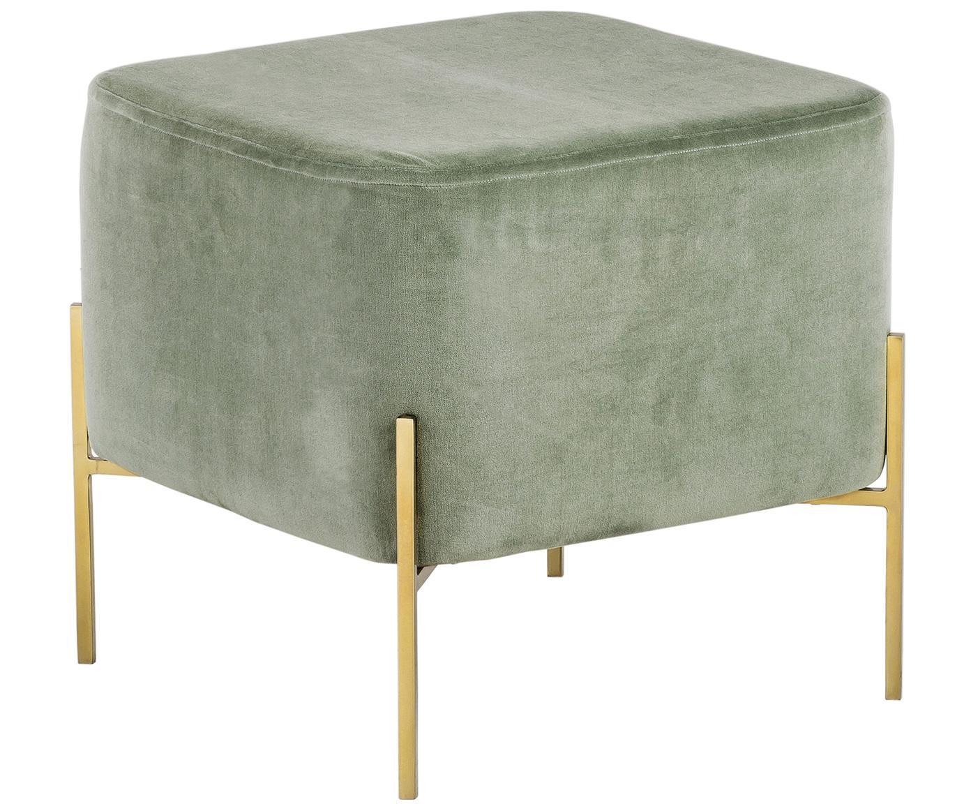 Samt-Hocker Harper, Bezug: Baumwollsamt, Fuß: Metall, pulverbeschichtet, Salbeigrün, Goldfarben, 46 x 44 cm