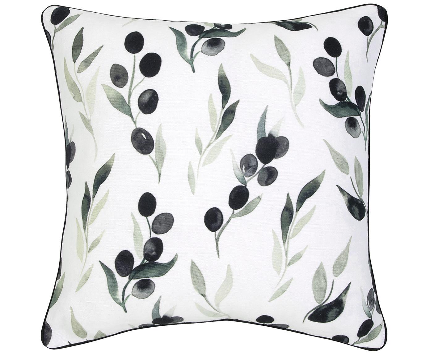 Federa arredo Oliva, Cotone, Bianco, grigio scuro, verde bordatura in pelle: grigio scuro, Larg. 40 x Lung. 40 cm