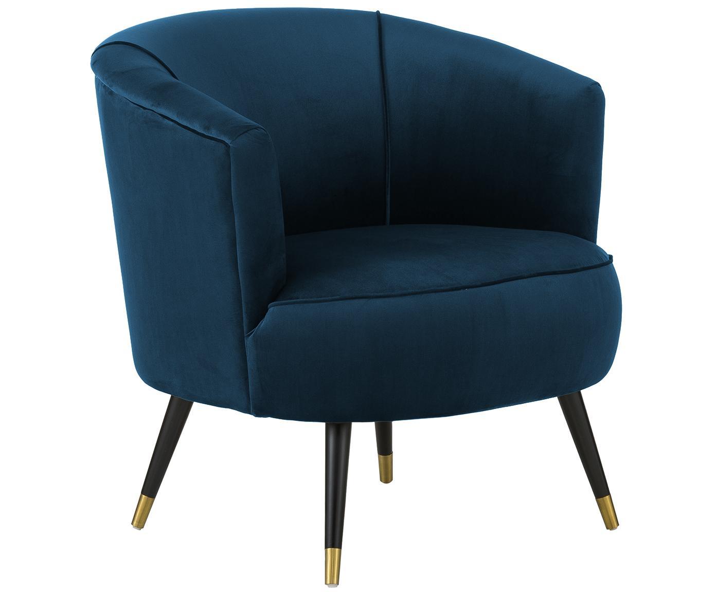 Fluwelen fauteuil Ella, Bekleding: fluweel (polyester), Poten: gelakt metaal, Donkerblauw, B 74 x D 78 cm
