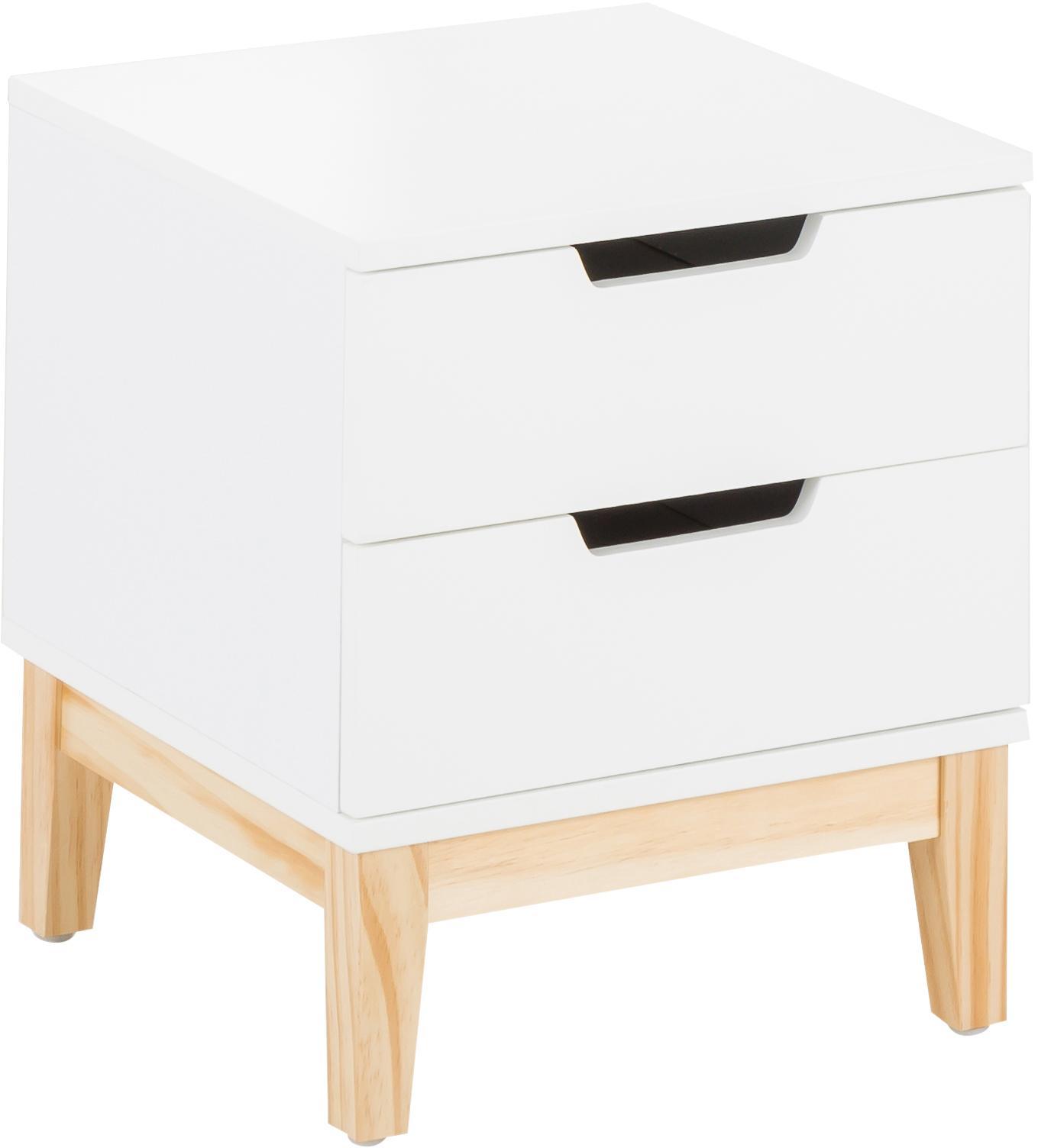 Nachttisch Buca mit Schubladen, Beine: Eichenholz, Beine: Eiche<br>Korpus und Fronten: Weiß, matt, 40 x 45 cm