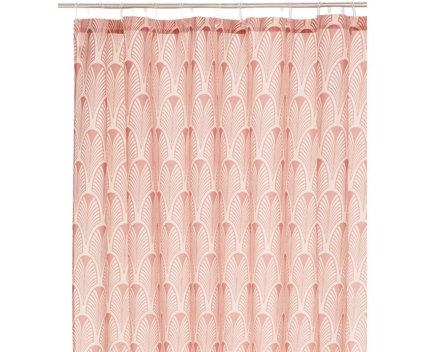 Zasłona prysznicowa Ashville, 100 % poliester z nadrukiem cyfrowym Odporny na wilgoć, nie wodoodporny, Różowy, S 180 x D 200 cm