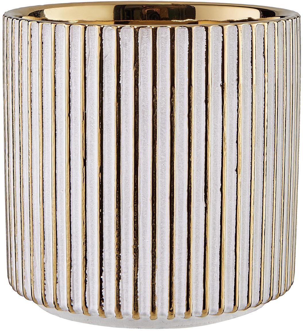 Kleiner Übertopf Goldie aus Steingut, Steingut, Goldfarben, Weiß, Ø 12 x H 12 cm