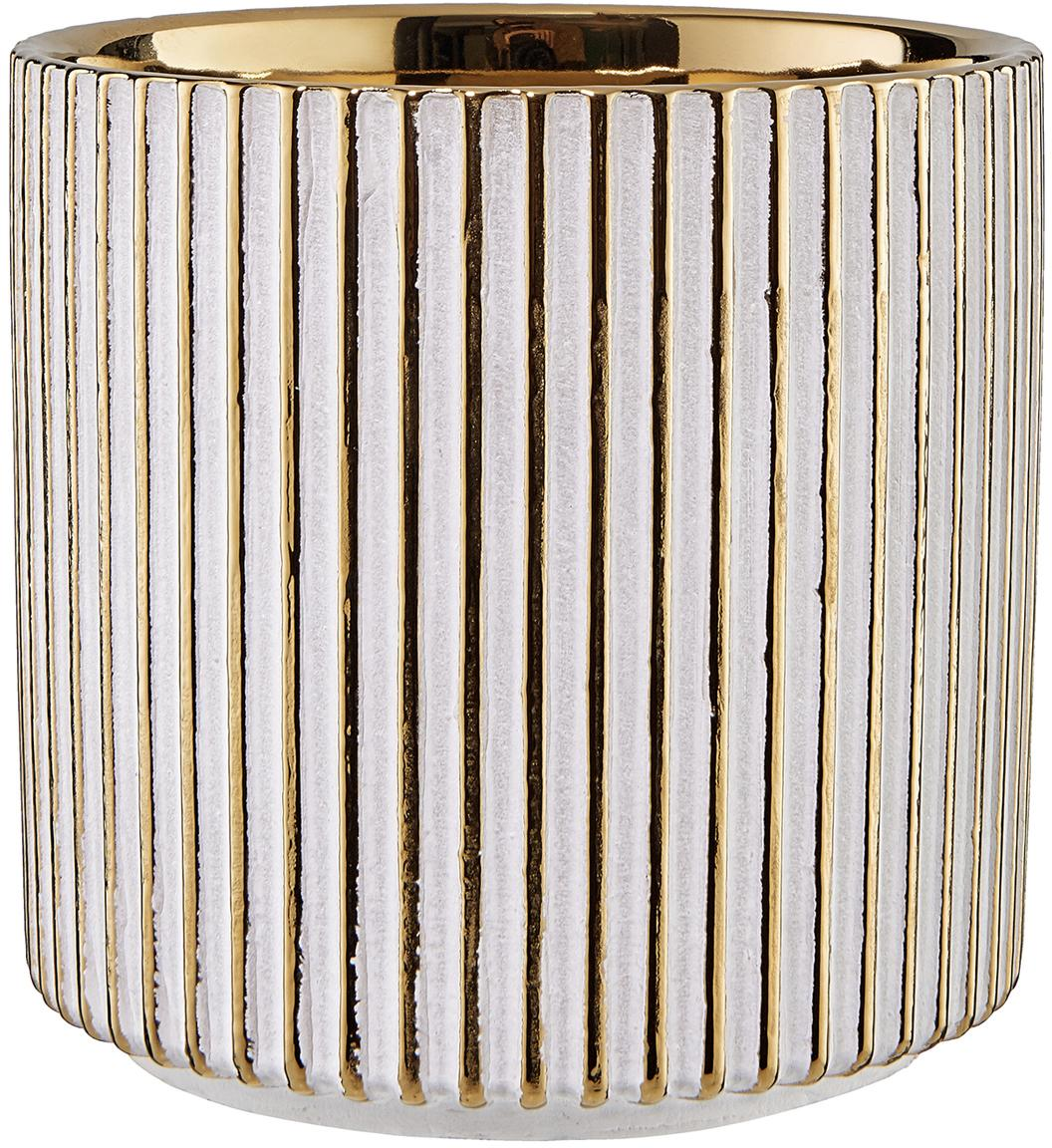 Osłonka na doniczkę Goldie, Odcienie złotego, biały, Ø 12 x W 12 cm