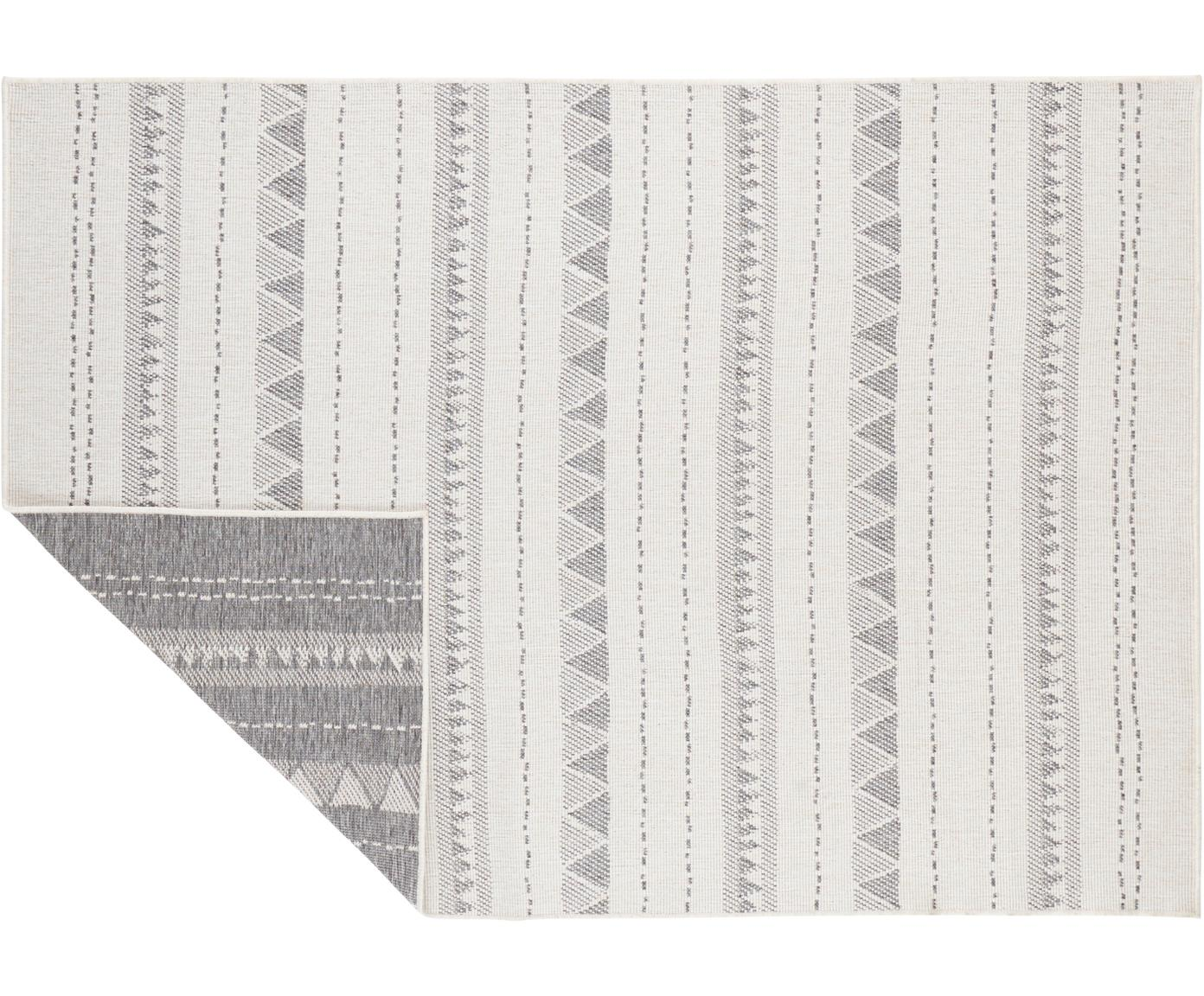Dubbelzijdig in- en outdoor vloerkleed Bahamas in grijs/crèmekleur, Polypropyleen, Grijs, crèmekleurig, B 120 x L 170 cm (maat S)