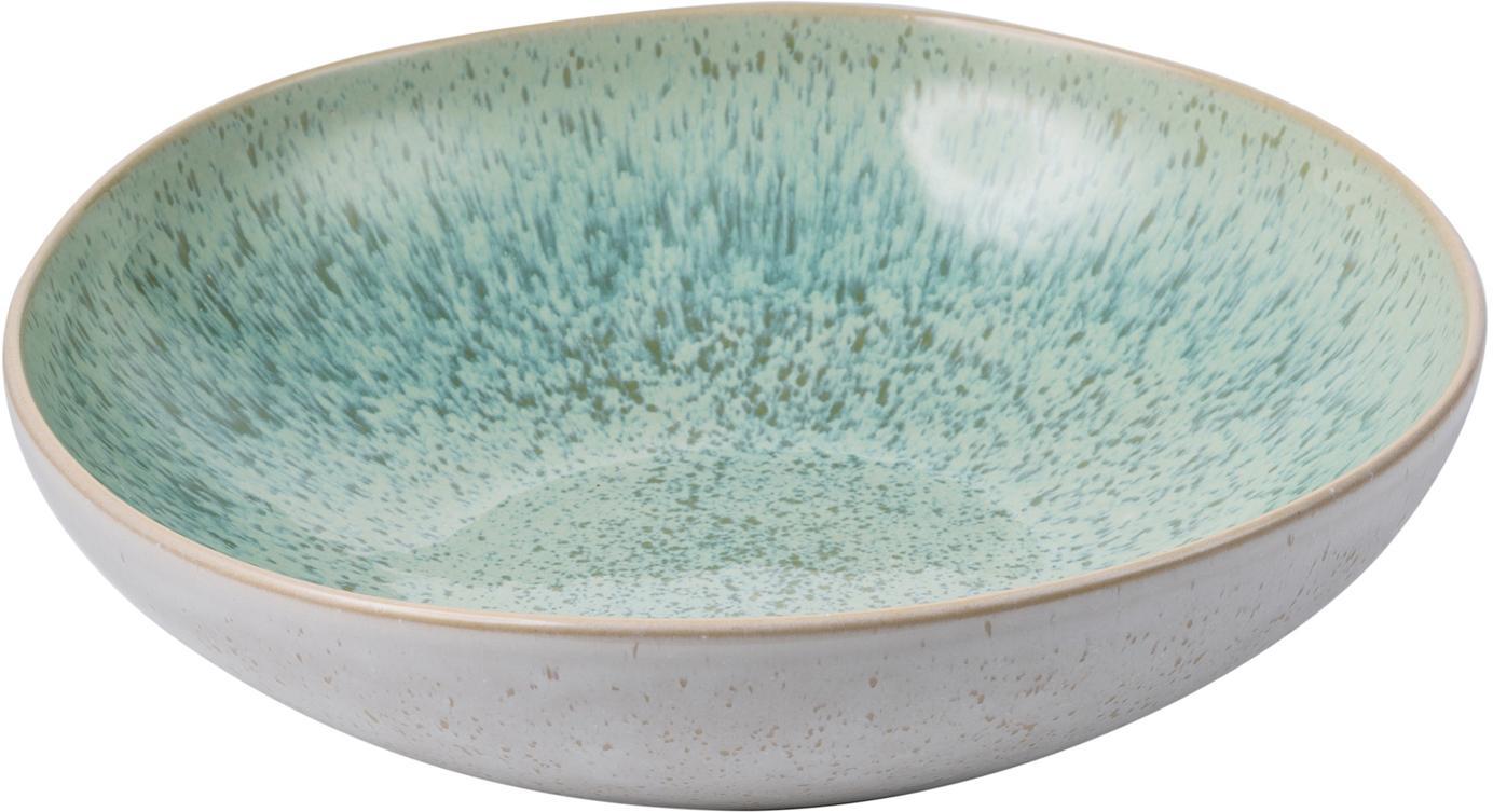 Handbemalte Servierschale Areia mit reaktiver Glasur, Steingut, Mint, Gebrochenes Weiss, Beige, Ø 22 x H 5 cm
