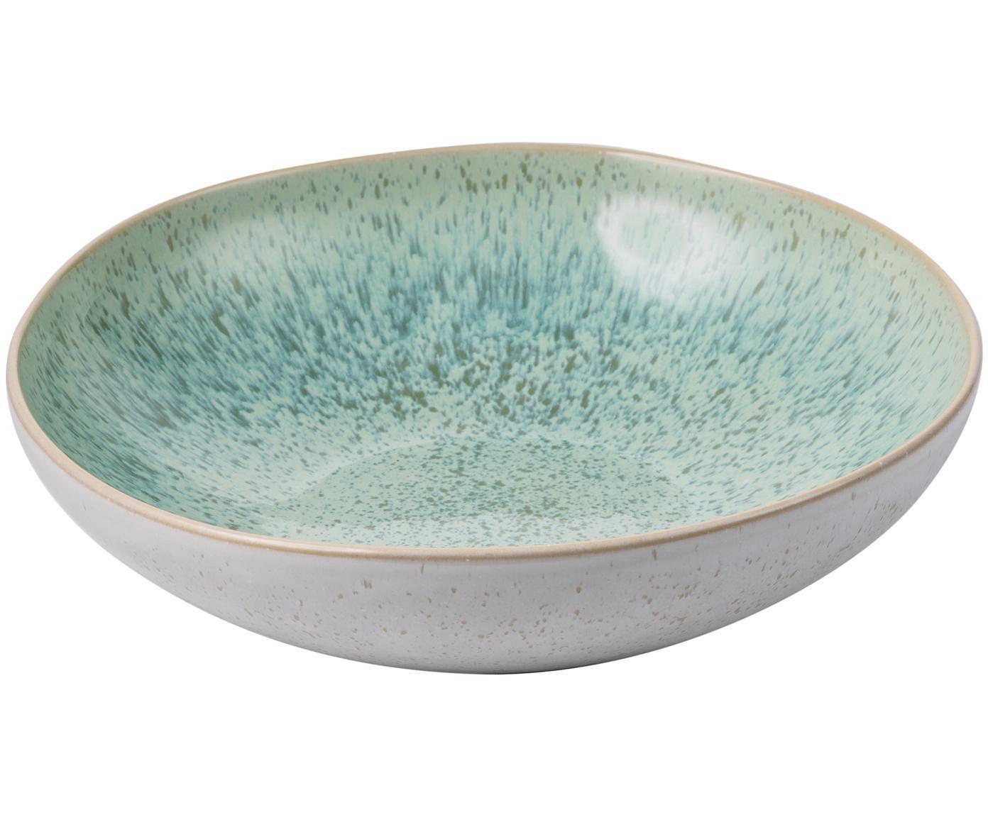 Handbemalte Schale Areia mit reaktiver Glasur, Steingut, Mint, Gebrochenes Weiß, Beige, Ø 22 x H 5 cm