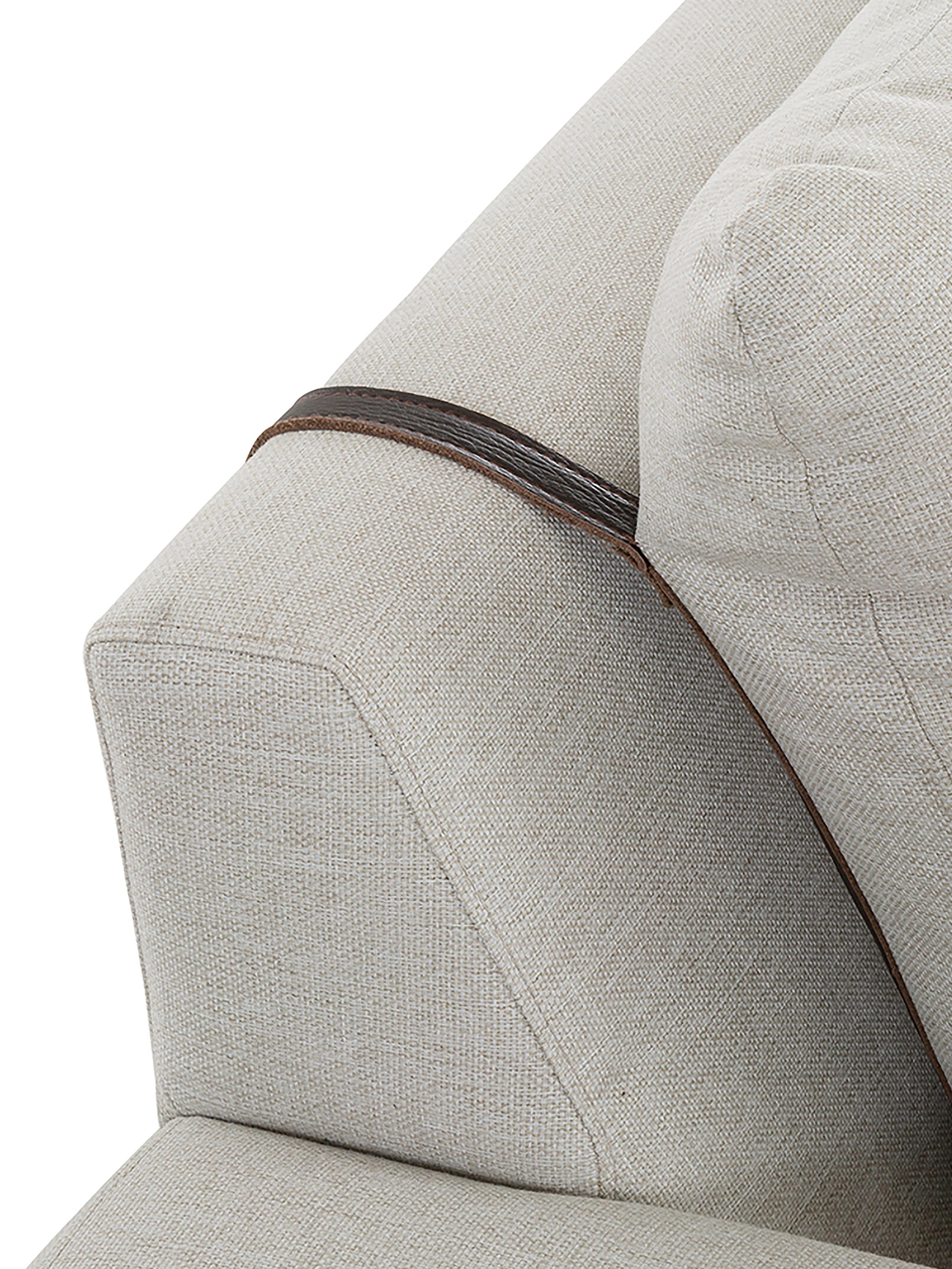 Sofa Brooks (3-Sitzer), Bezug: Polyester 35.000 Scheuert, Gestell: Kiefernholz, massiv, Rahmen: Kiefernholz, lackiert, Füße: Metall, pulverbeschichtet, Webstoff Beige, 230 x 75 cm