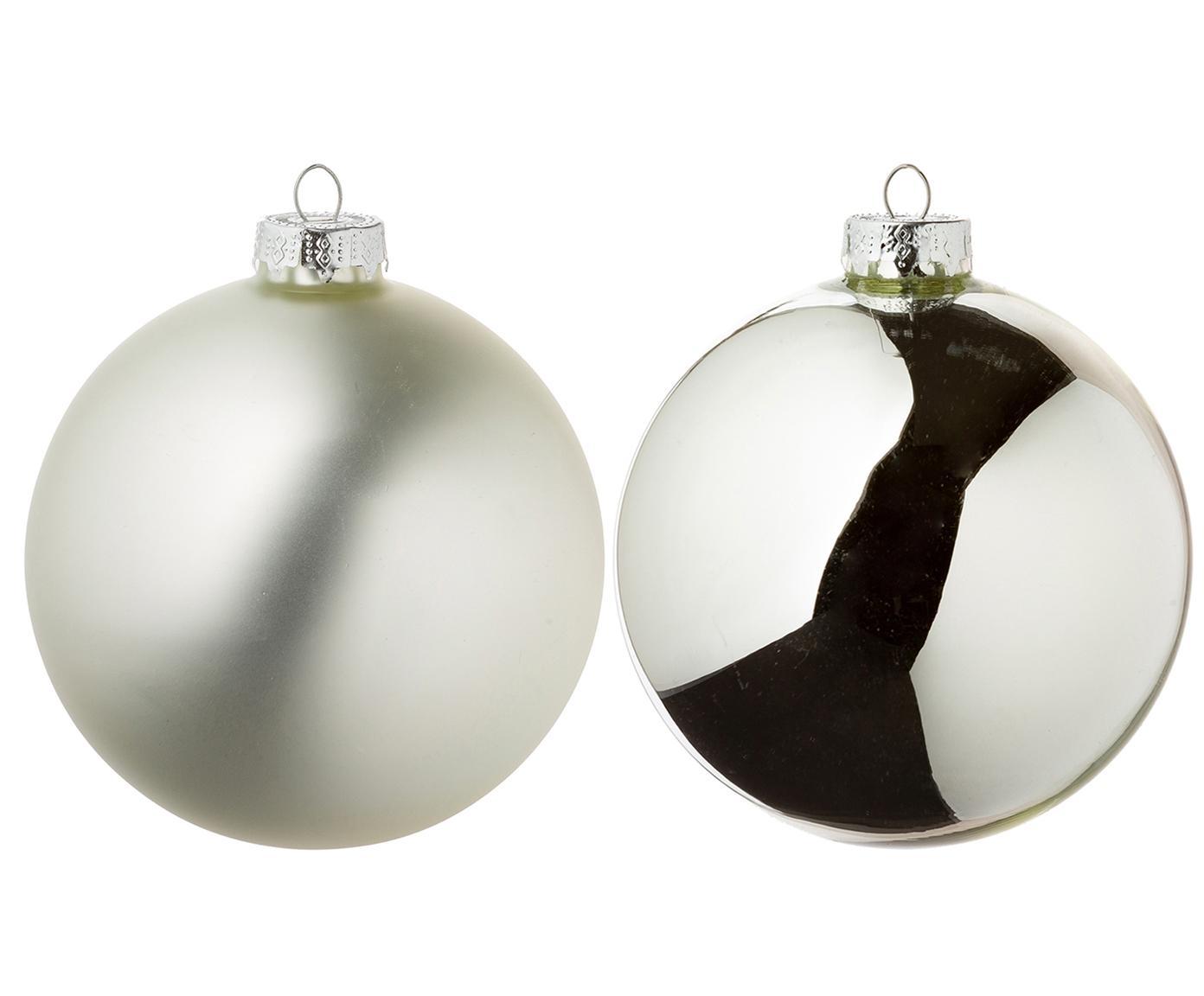 Set de bolas de Navidad Roman, 8pzas., Vidrio, Plateado, Ø 10 cm