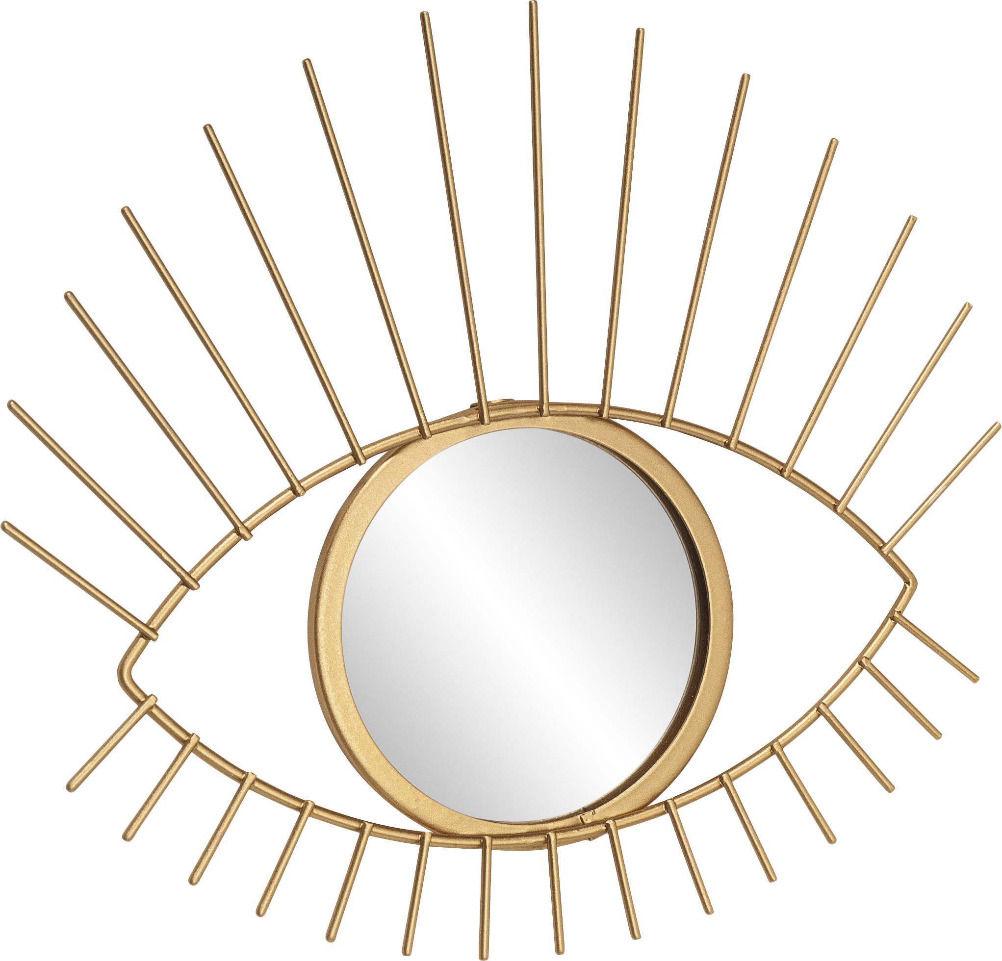 Decoratieve spiegel Auge, Frame: gecoat metaal, Frame: goudkleurig. Spiegelvlak: spiegelglas, 27 x 31 cm