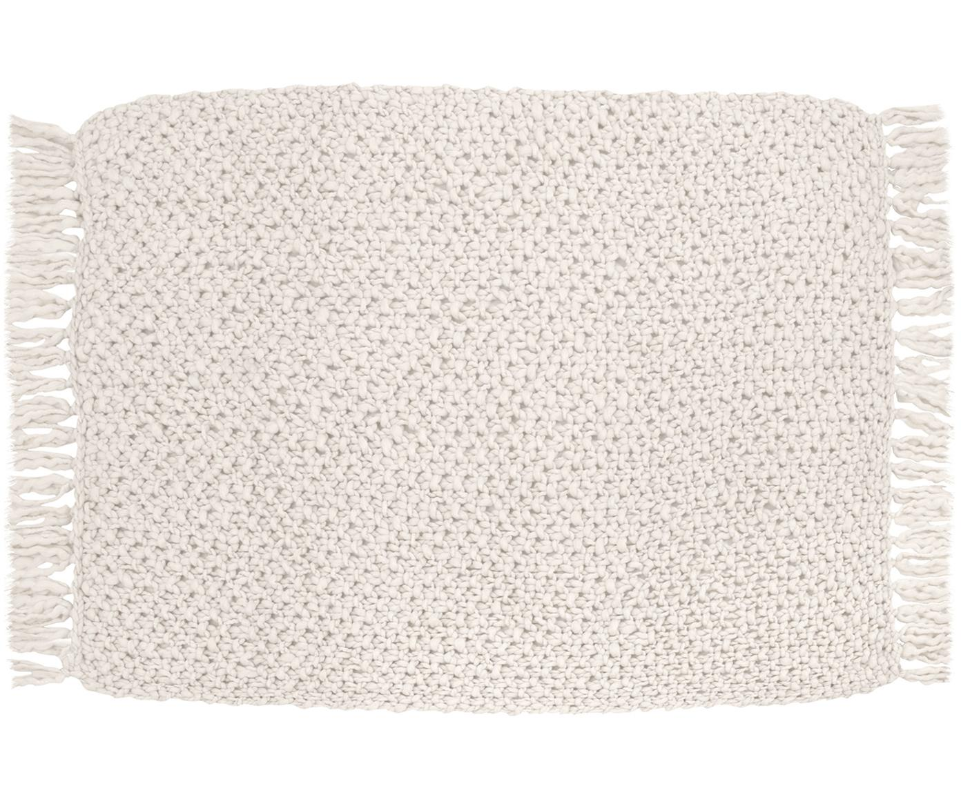 Manta de punto grueso Liva, 50%lana, 50%acrílico Con un tacto ligeramente aspero, Blanco natural, An 130 x L 170 cm