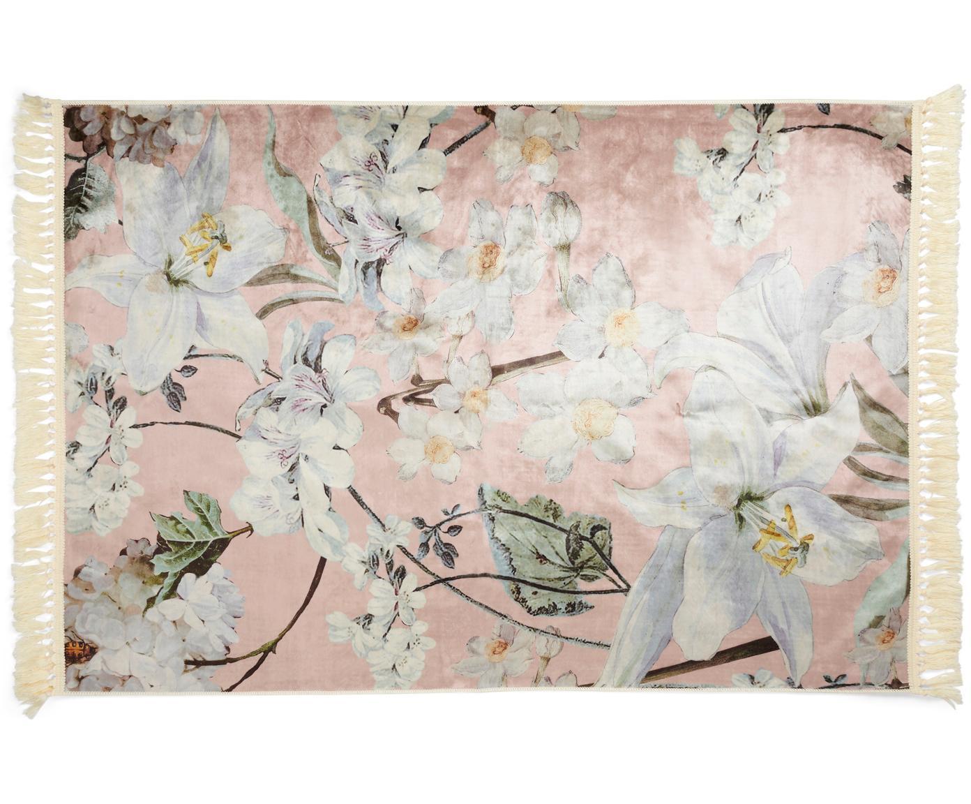 Teppich Rosalee mit Blumenmuster, 60% Polyester, 30% thermoplastisches Polyurethan, 10% Baumwolle, Rosa, Mehrfarbig, B 120 x L 180 cm (Größe S)