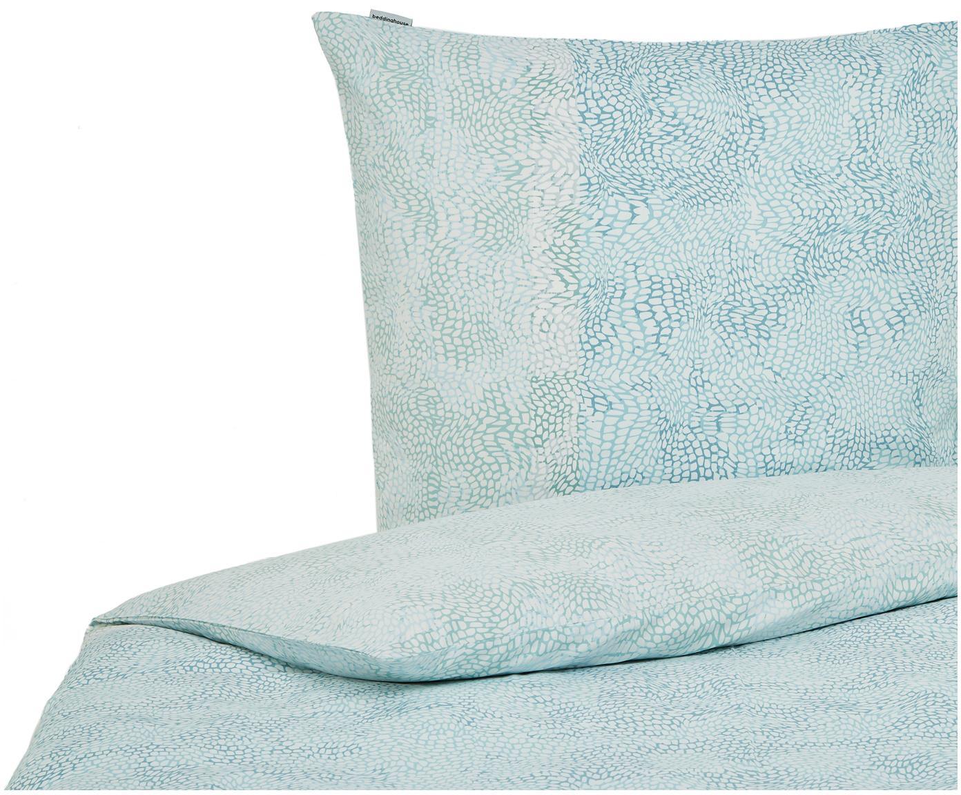 Baumwollsatin-Bettwäsche Impress, gemustert, Webart: Satin Fadendichte 220 TC,, Blau, 135 x 200 cm + 1 Kissen 80 x 80 cm