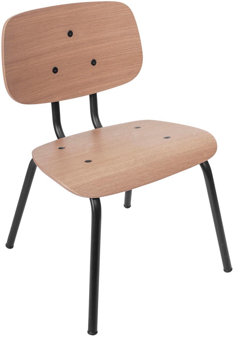 Krzesło dla dzieci Oakee, Stelaż: metal lakierowany, Blat: drewno bukowe z fornir z , Drewno dębowe, S 37 x W 57 cm