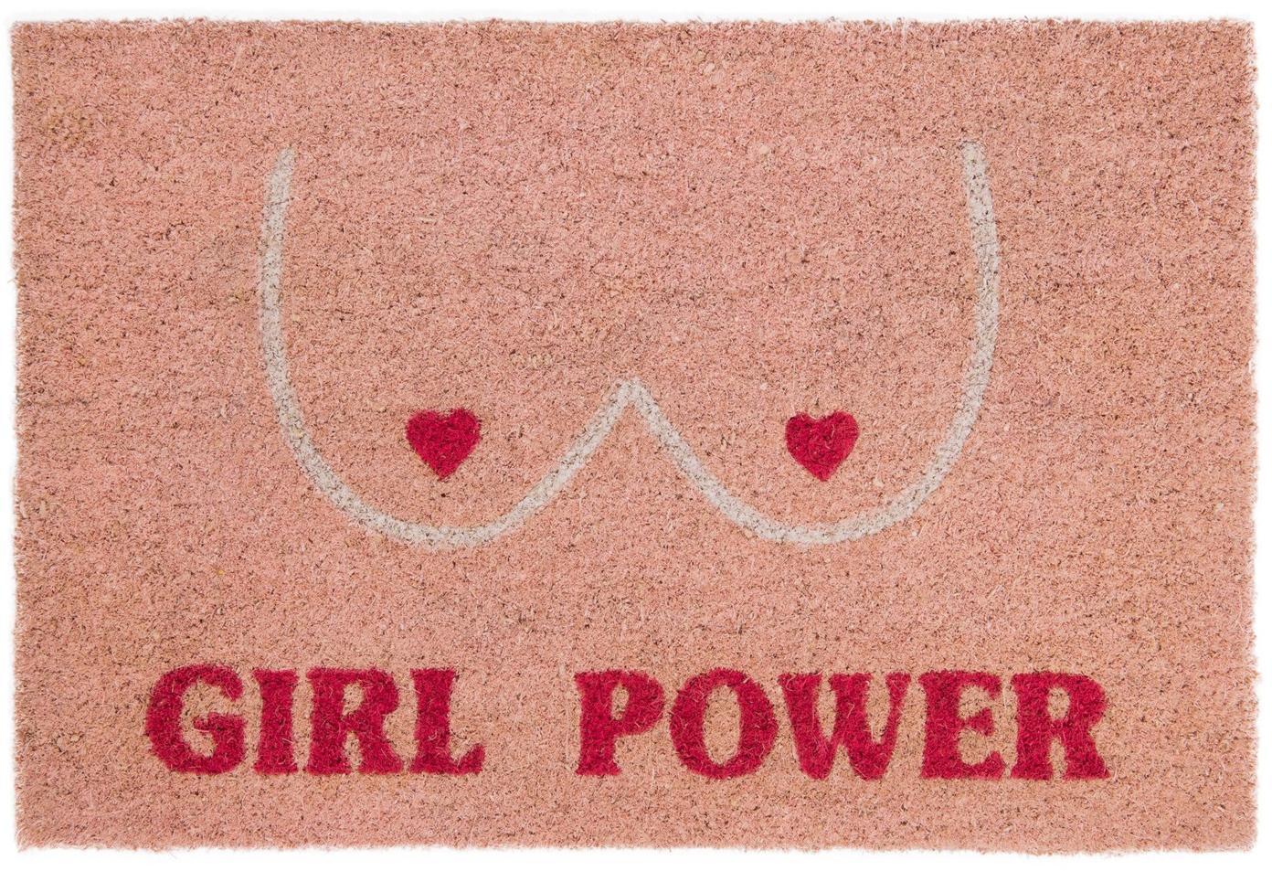 Fussmatte Girl Power, Oberseite: Kokosfaser, Unterseite: PVC, Rosa, Rot, Beige, 40 x 60 cm