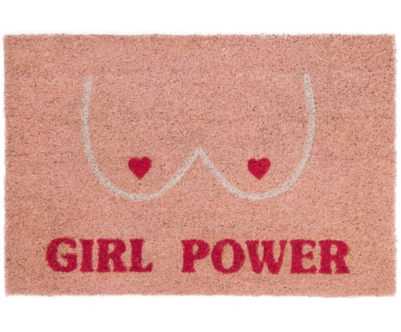 Deurmat Girl Power, Kokosvezels, Roze, rood, beige, 40 x 60 cm