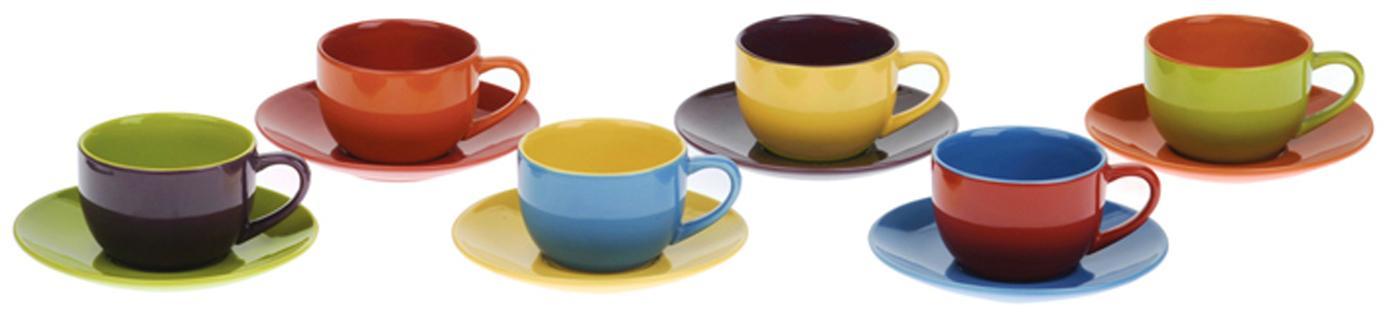 Set 12 tazzine da caffè Harlequin, Terracotta, Multicolore, Ø 12 x Alt. 5 cm