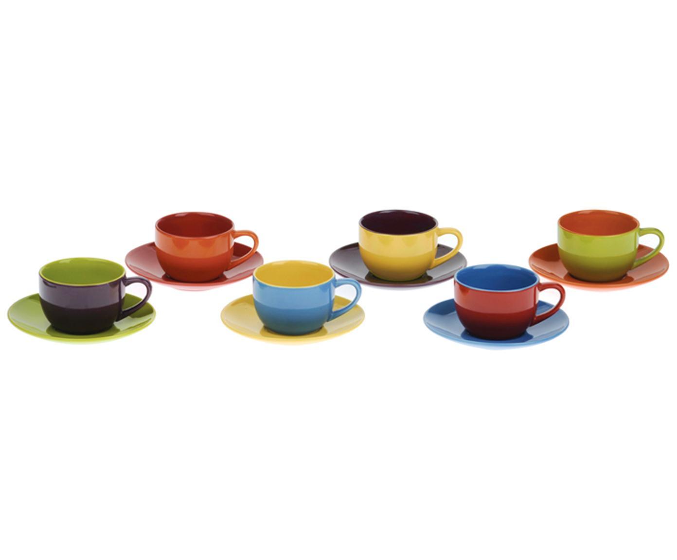 Tazas con platitos de colores Harlequin, 6uds., Gres, Multicolor, Ø 12 x Al 5 cm
