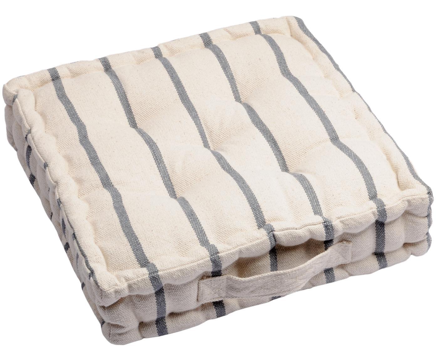 Kleine gestreepte vloerkussen Pampelonne, Antraciet, gebroken wit, 45 x 10 cm