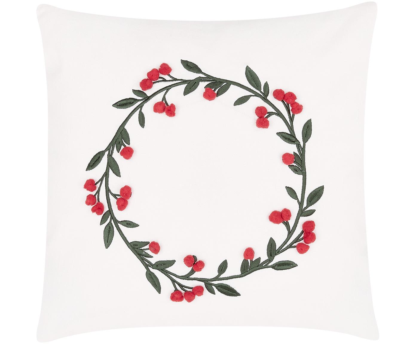 Geborduurde fluwelen kussenhoes Christmas Wreath met decoratieve pompons, Crèmewit, 40 x 40 cm