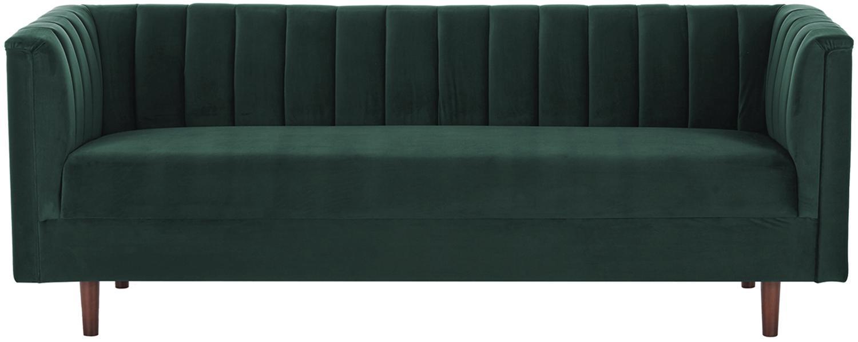 Fluwelen bank Paula (3-zits), Bekleding: fluweel (polyester), Frame: grenenhout, Poten: rubberhout, Bekleding: donkergroen. Poten: donker gelakt rubberhout, 199 x 77 cm
