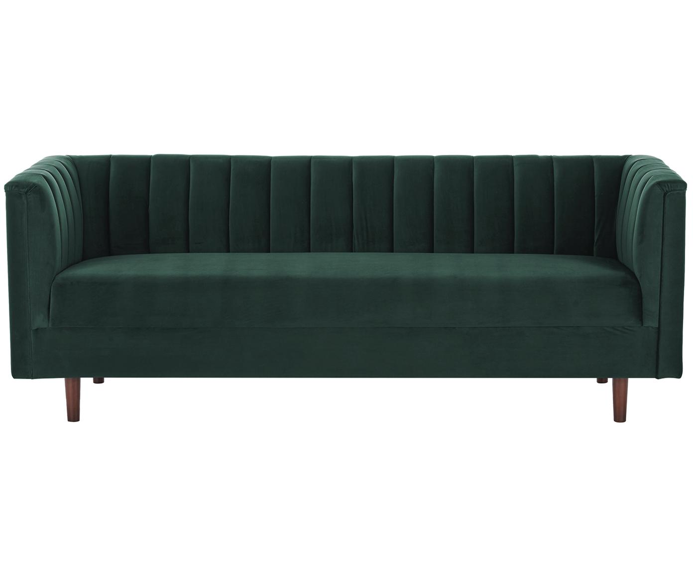 Samt-Sofa Paula (3-Sitzer), Bezug: Samt (Polyester) 28.000 S, Gestell: Kiefernholz, Samt Dunkelgrün, 199 x 77 cm