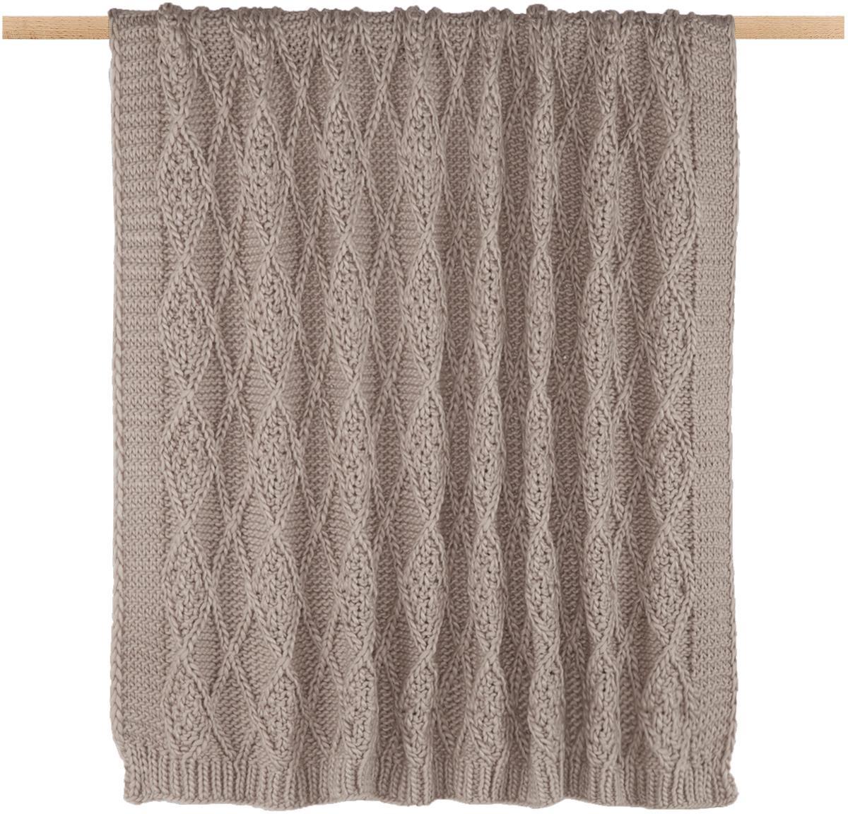Plaid fatto a maglia Darcy, Poliacrilico, Taupe, Larg. 130 x Lung. 170 cm