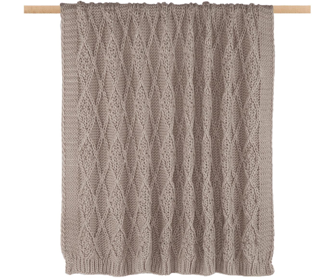 Manta tejida Darcy, Poliacrílico, Gris pardo, An 130 x L 170 cm