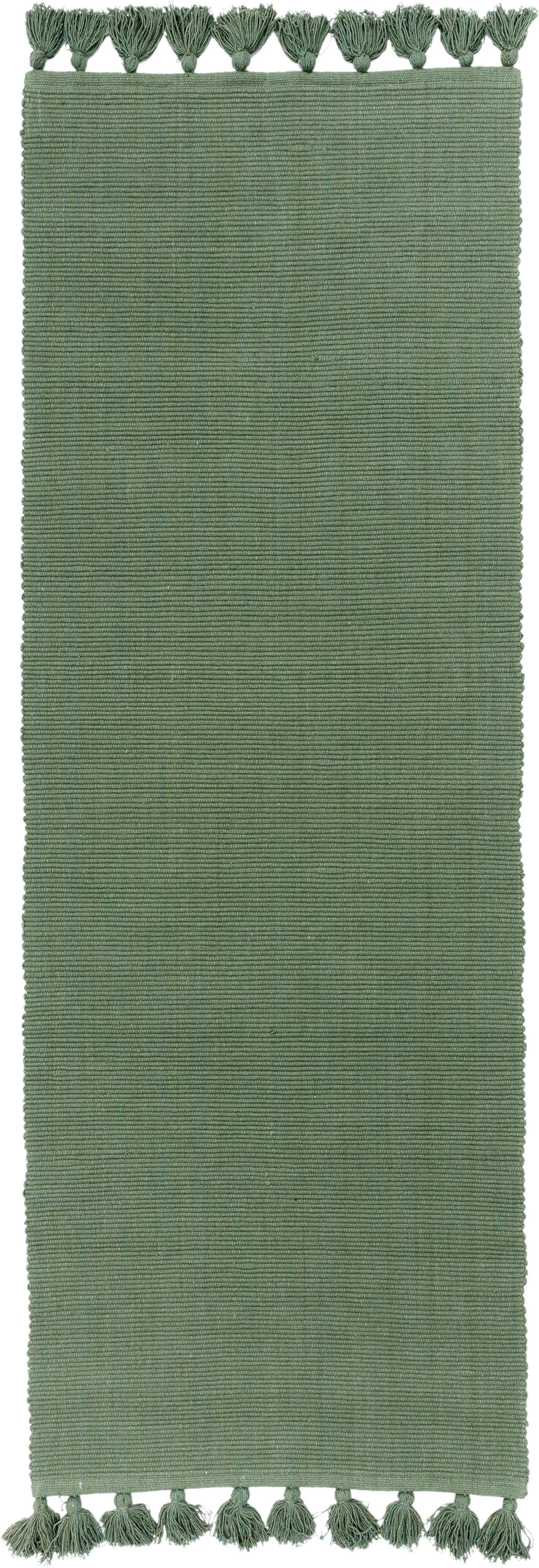 Chodnik z chwostami Homer, Bawełna, Zielony leśny, S 70 x D 216 cm