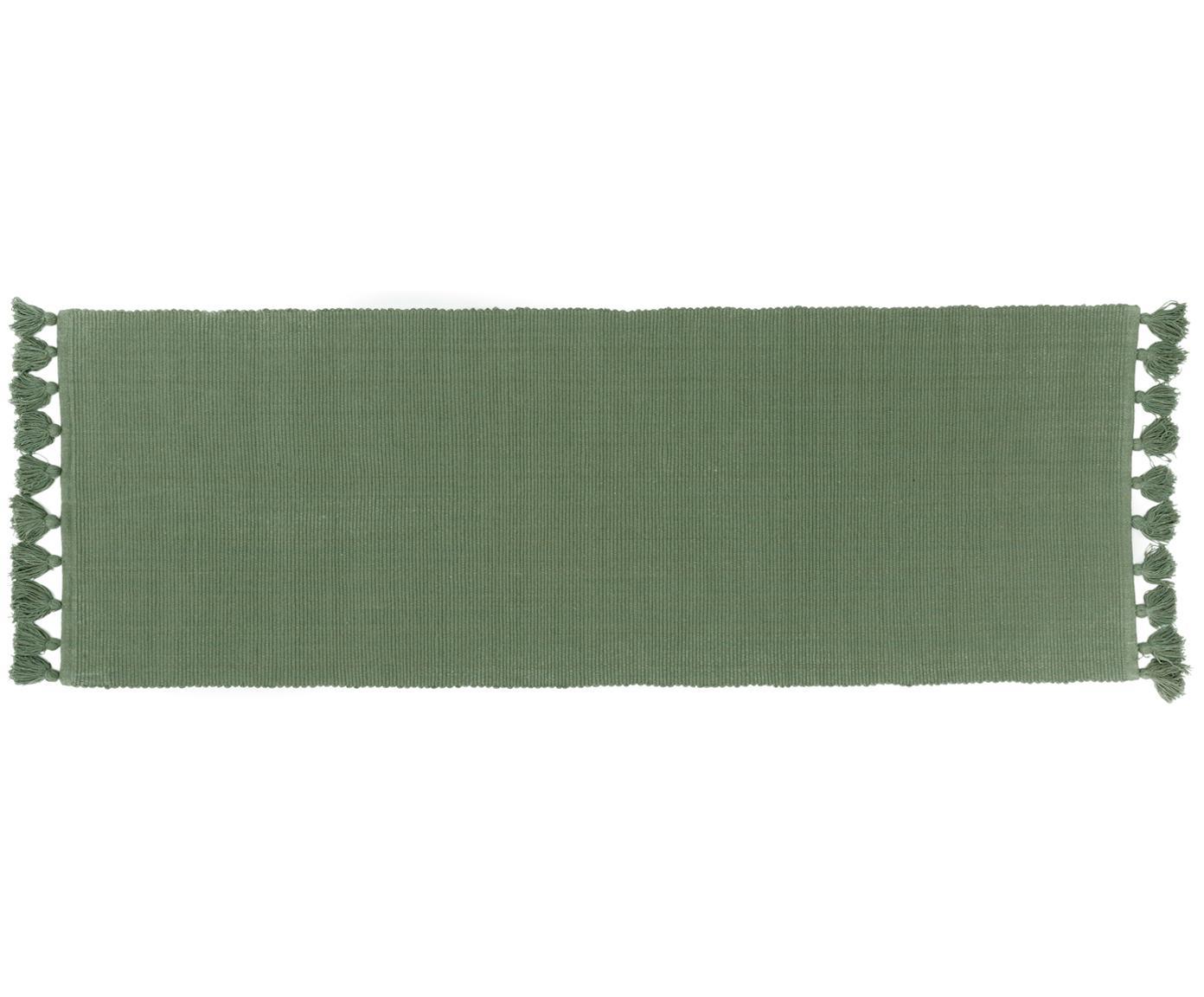 Läufer Homer in Grün mit Quasten, 100% Baumwolle, Waldgrün, 70 x 216 cm