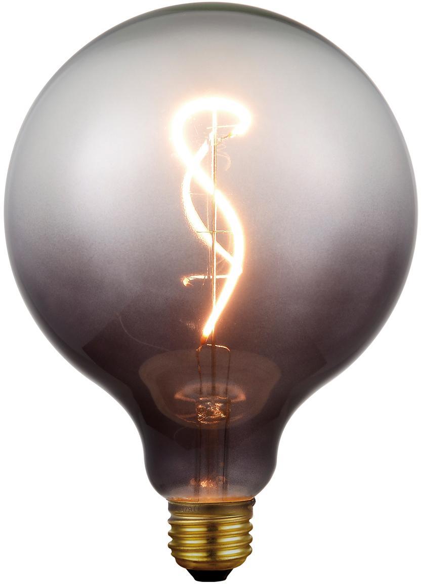 Groot LED peertje Colors Smoke (E27/4W), dimbaar, Glas, gecoat metaal, Grijs, transparant, Ø 13 x H 17 cm