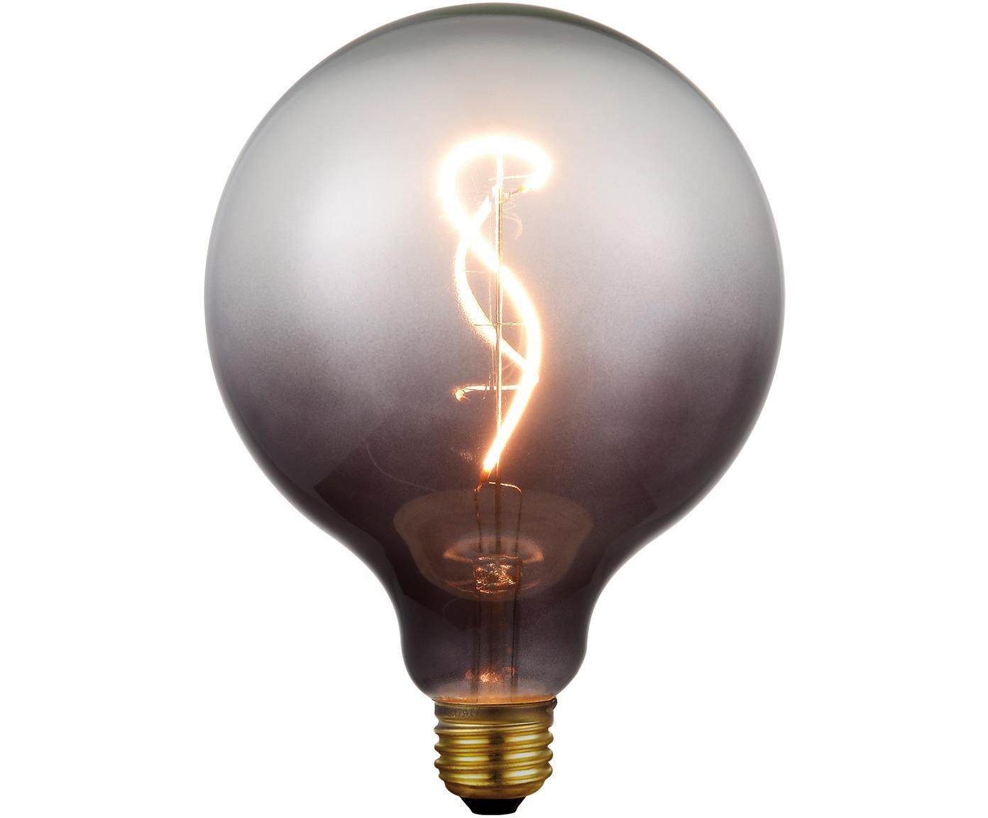 Grote LED lamp Colors Smoke (E27 / 4W), dimbaar, Glas, gecoat metaal, Grijs, transparant, Ø 13 x H 17 cm