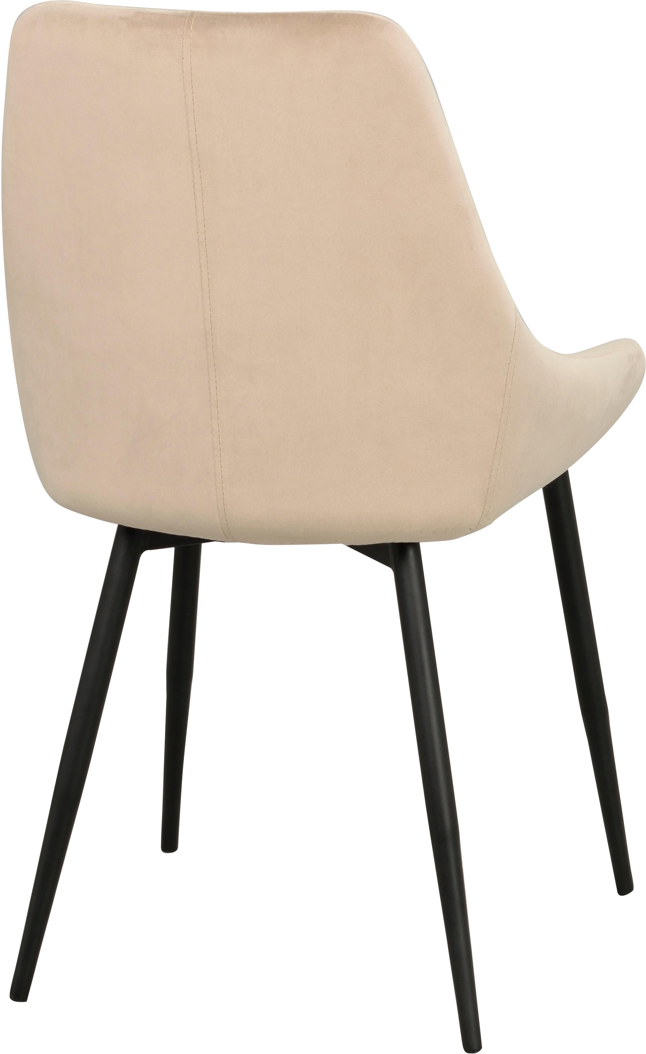 Sillas tapizadas en terciopelo Sierra, 2uds., Tapizado: terciopelo de poliéster 1, Patas: metal pintado, Beige, negro, An 49 x F 55 cm