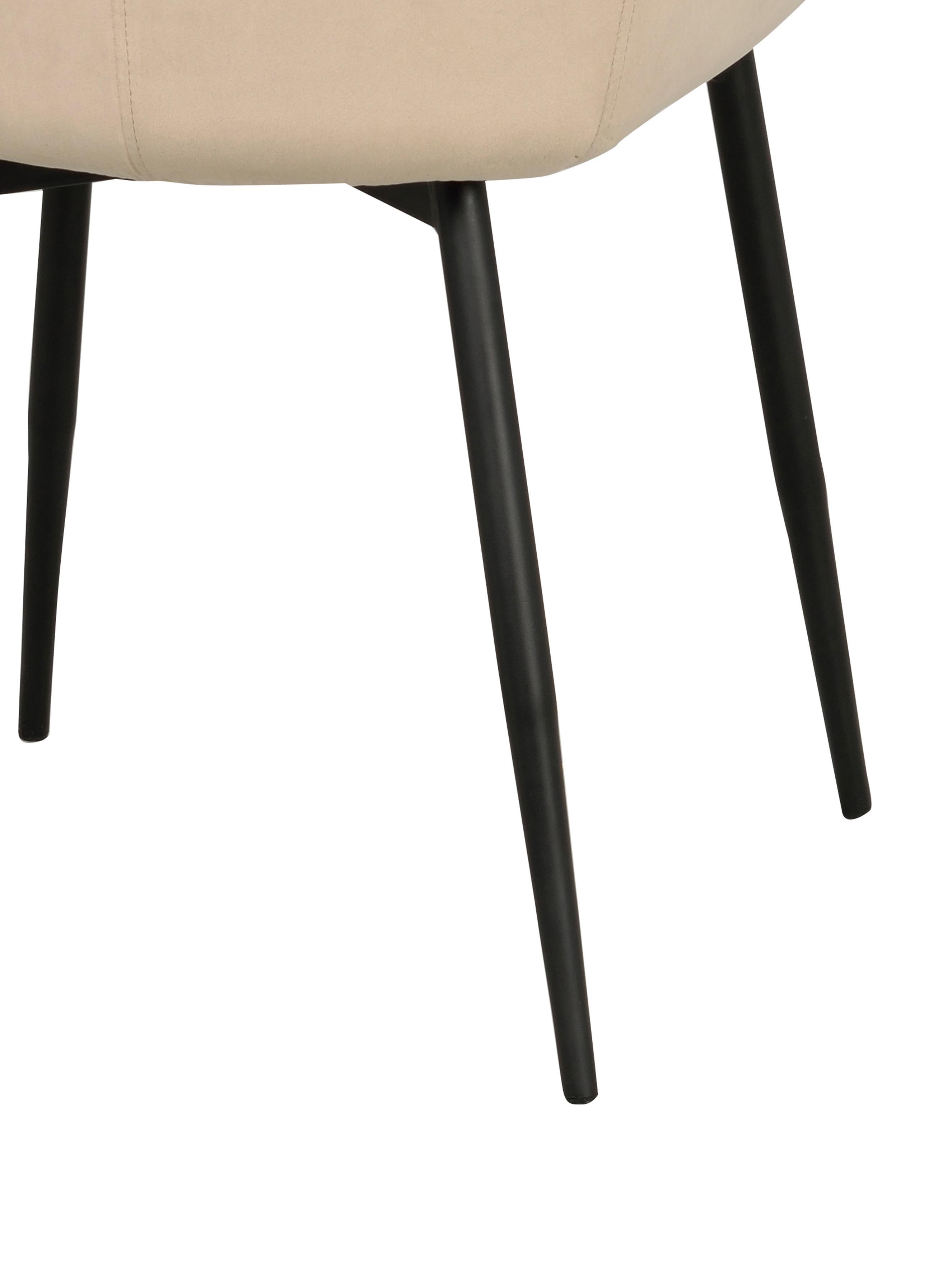 Sedia imbottita in velluto Sierra, 2 pz., Rivestimento: poliestere 100.000 cicli , Gambe: metallo laccato, Beige, nero, Larg. 49 x Prof. 55 cm
