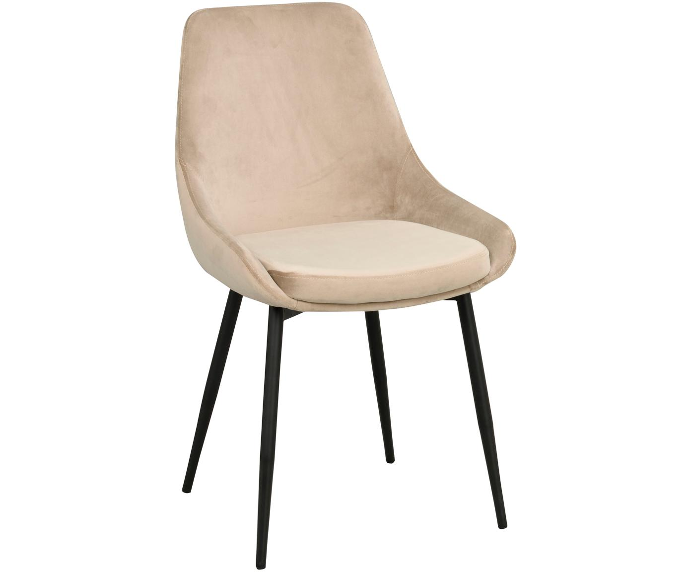 Krzesło tapicerowane z aksamitu Sierra, 2 szt., Tapicerka: aksamit poliestrowy 1000, Nogi: metal lakierowany, Beżowy, czarny, S 49 x G 55 cm
