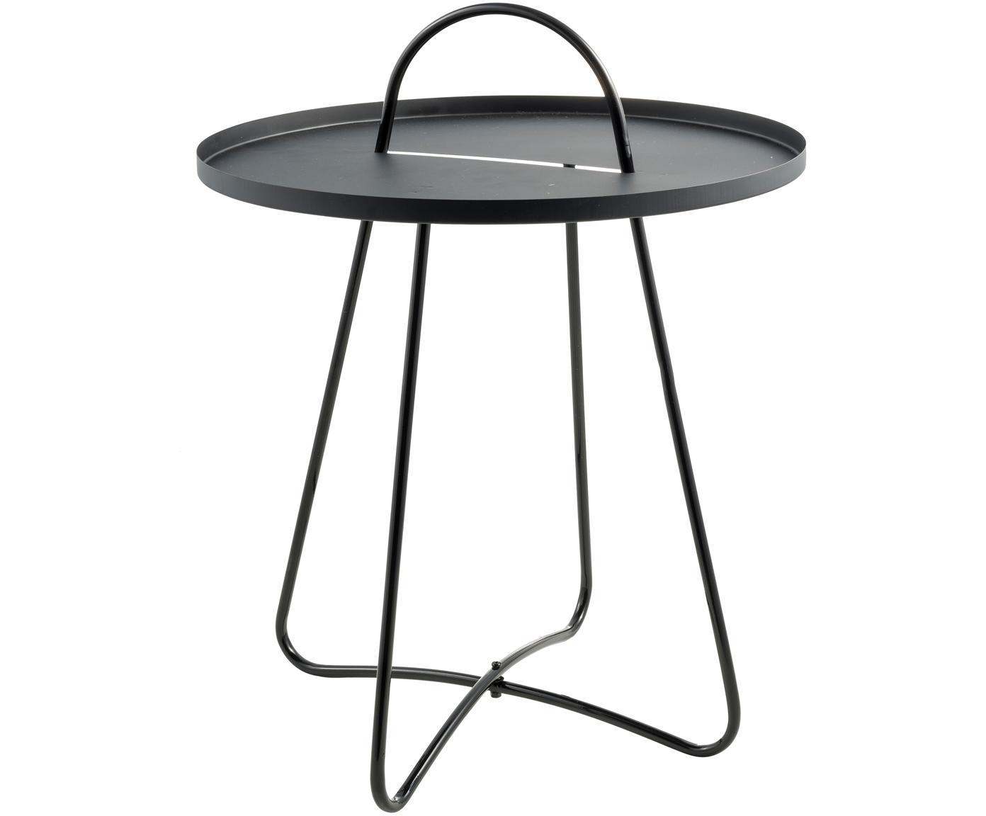 Mesa auxiliar de metal Pronto, Metal recubierto, Negro, Ø 46 x Al 58 cm