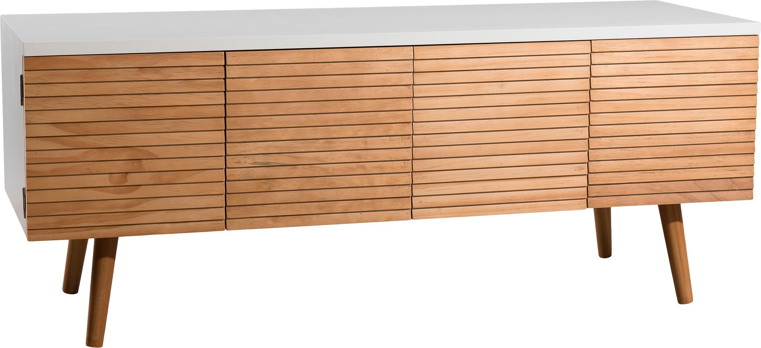 Mobile TV scandi con ante Pedro, Bianco, legno di pino, Larg. 120 x Alt. 48 cm