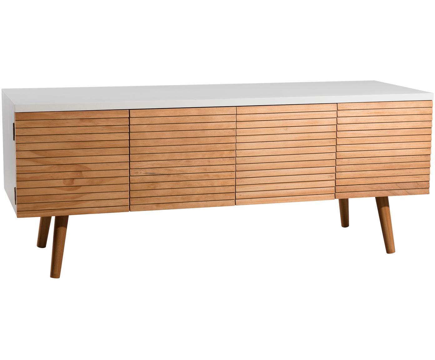Mueble TV Pedro, estilo escandinavo, Estructura: tablero de fibras de dens, Blanco, madera de pino, An 120 x Al 48 cm