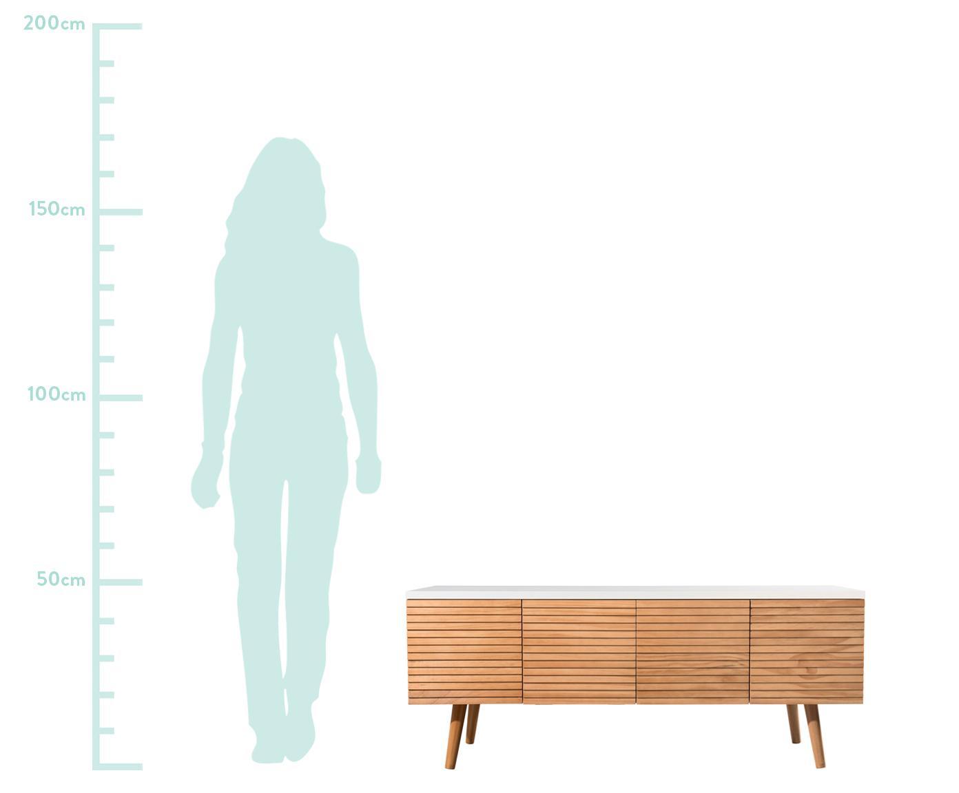 Szafka RTV z drzwiczkami Pedro, Korpus: płyta pilśniowa średniej , Biały, drewno sosnowe, S 120 x W 48 cm