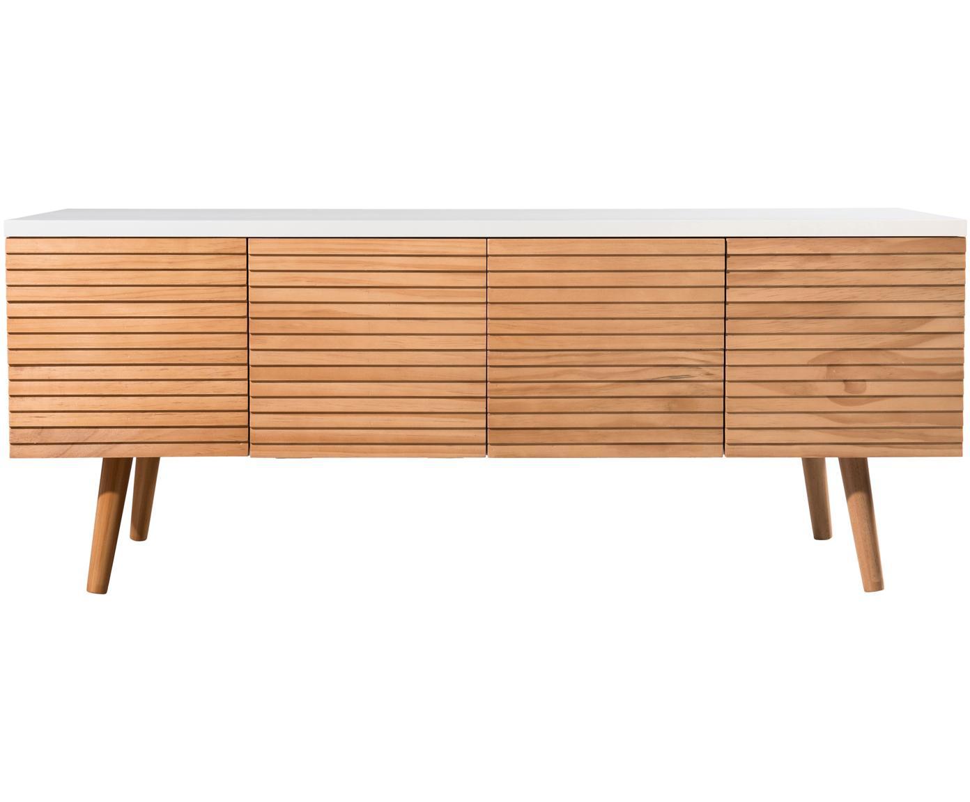 Scandi tv-meubel Pedro met deuren, Frame: gelakt MDF, Wit, grenenhoutkleurig, 120 x 48 cm