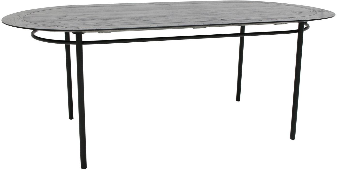 Massief houten eettafel Ringding, Tafelblad: gelakt sungkaihout, Poten: gecoat metaal, Zwart, B 200 x D 100 cm