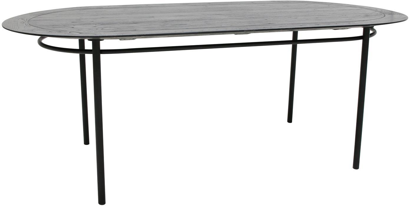 Ovale massief houten eettafel Ringding, Tafelblad: gelakt sungkaihout, Poten: gecoat metaal, Zwart, B 200 x D 100 cm