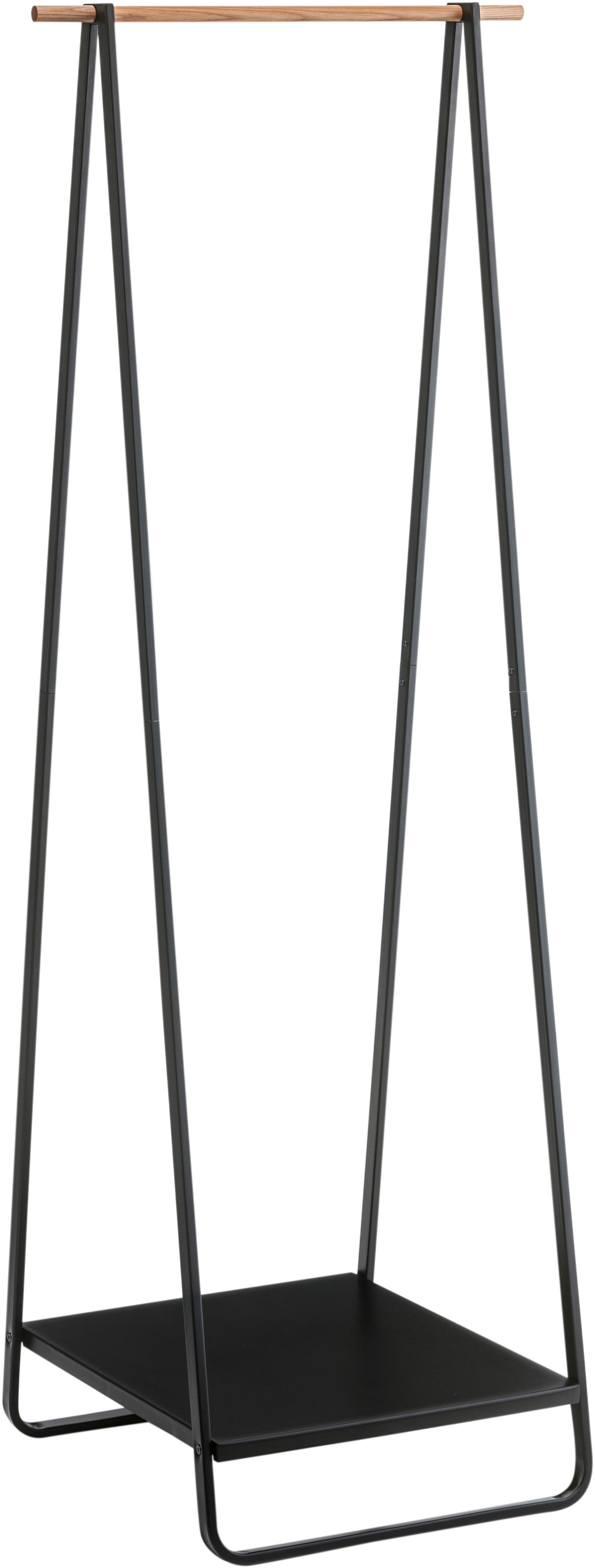 Kledingstang Tatjana, Staal, hout, Zwart, houtkleurig, 52 x 140 cm
