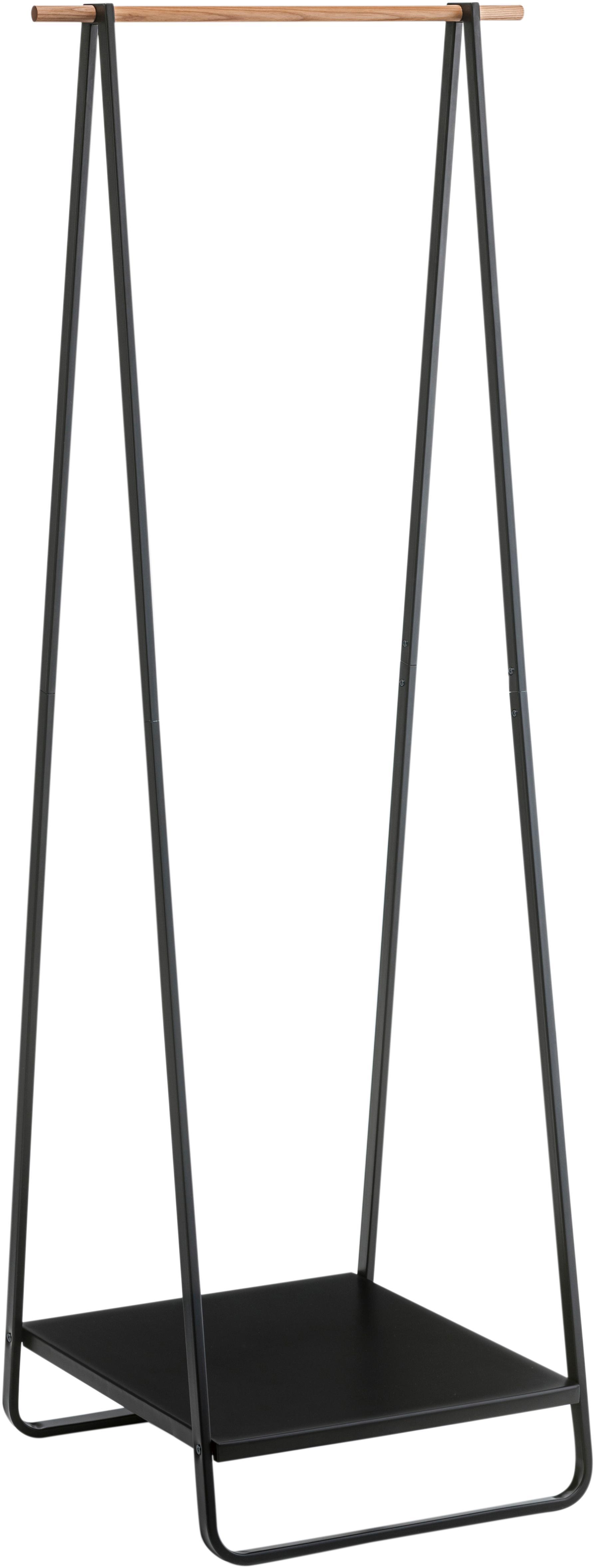 Wieszak stojący z metalu Tower, Stelaż: metal malowany proszkowo, Czarny, S 52 x W 140 cm